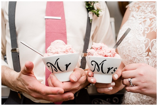 Bride and Groom holding gelato bowls